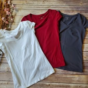 3x Ann Taylor Tank Top Petite Red Gray White XXSP